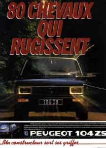 Publicité Peugeot 104 ZS 80hp