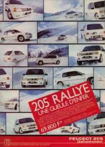 Publicité Peugeot 205 Rallye