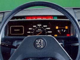 Tableau de bord de la Peugeot 205 Junior