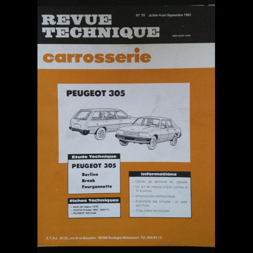 Revue Technique Carrosserie Peugeot 305