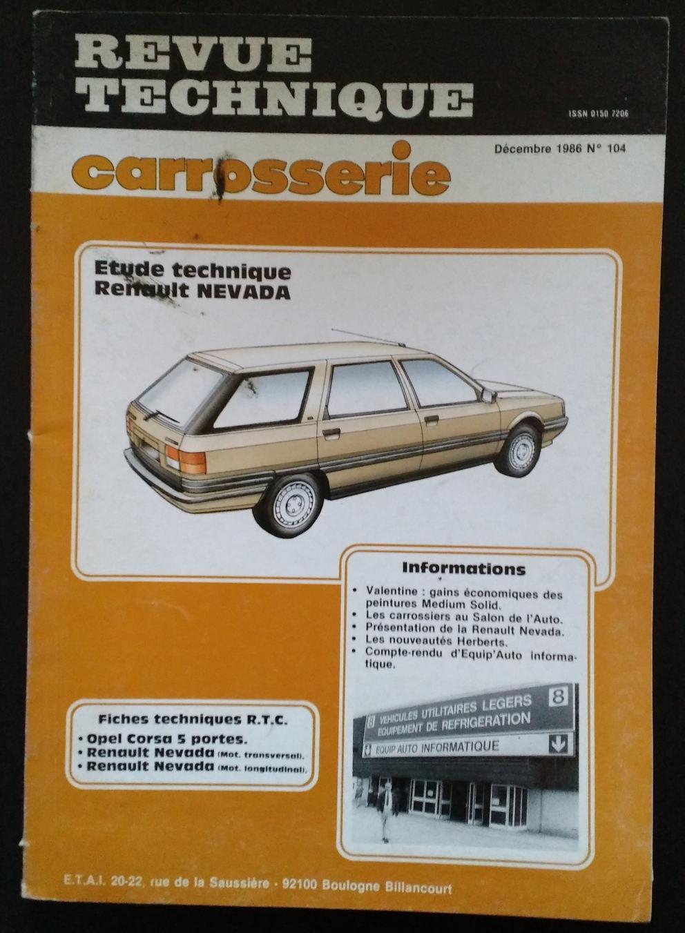Revue Technique Carrosserie pour Renault 21 Nevada