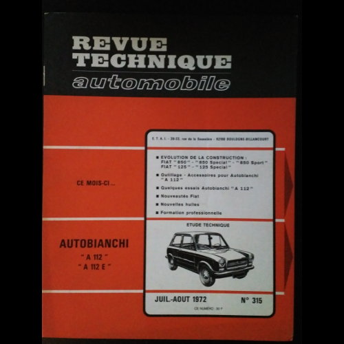Revue Technique Automobile Autobianchi A112
