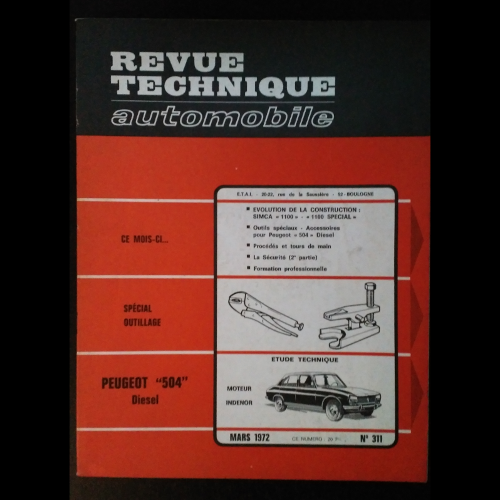 Revue Technique Automobile Peugeot 504 diesel