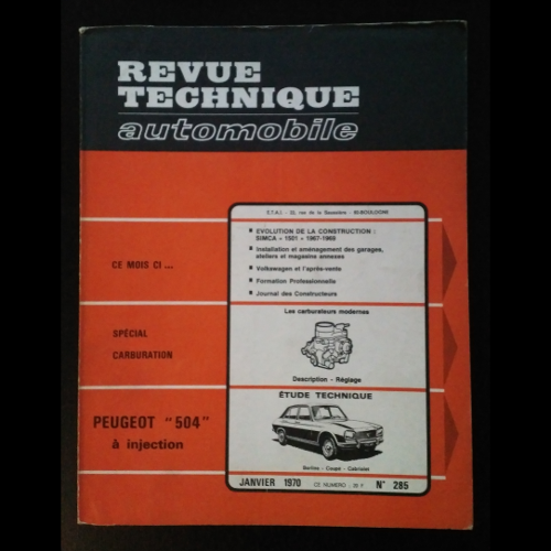 Revue Technique Automobile Peugeot 504 injection