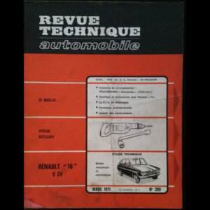 Revue Technique Automobile Renault 16 9CV