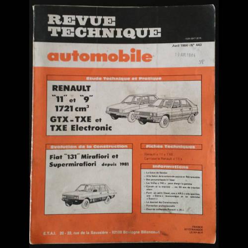 RTA Renault 11 et 9, 1721 cm3, GTX, TXE et Electronic