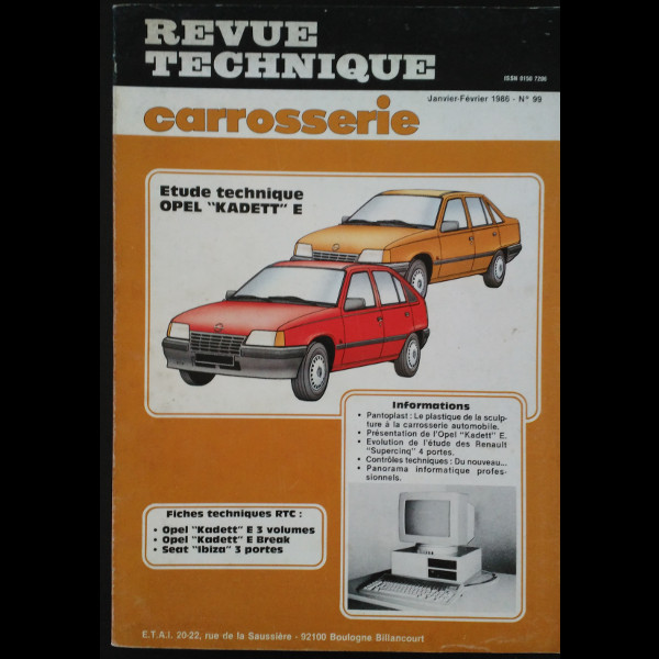 Revue Technique Carrosserie Opel Kadett E